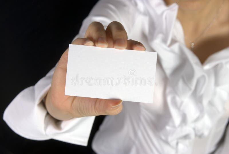 gospodarstwa bizneswomanu imię karty fotografia stock