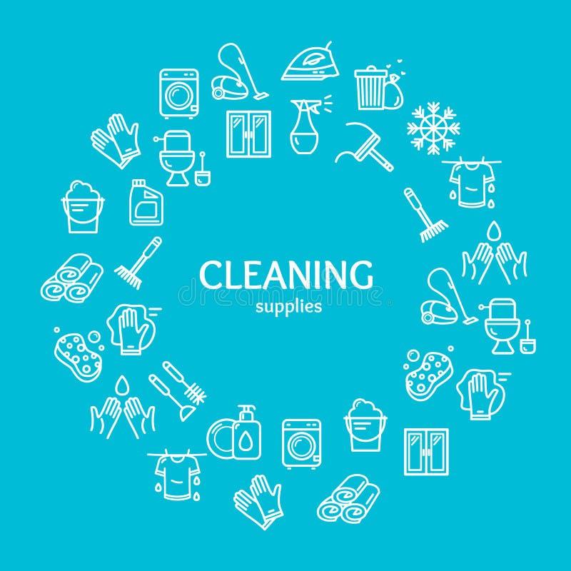 Gospodarstwa domowego i Cleaning narzędzi koloru projekta szablonu linii ikony Round pojęcie wektor ilustracja wektor