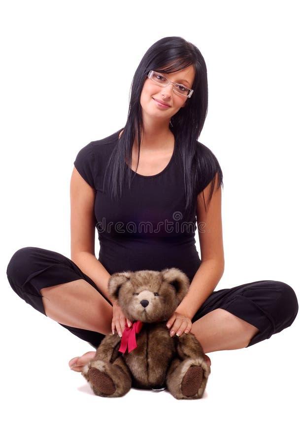 gospodarstwa niedźwiedzi misia kobieta obrazy stock