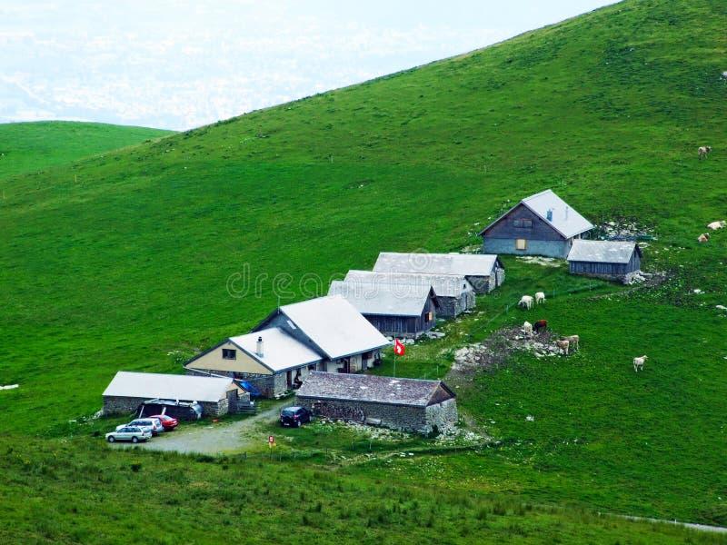 Gospodarstwa rolne i paśniki Appenzellerland region zdjęcia stock