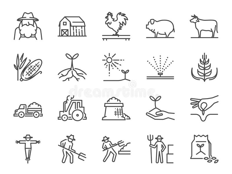 Gospodarstwa rolnego i rolnictwa ikony kreskowy set Zawrzeć ikony jako rolnik, kultywacja, roślina, uprawa, bydlę, bydło, gospoda royalty ilustracja