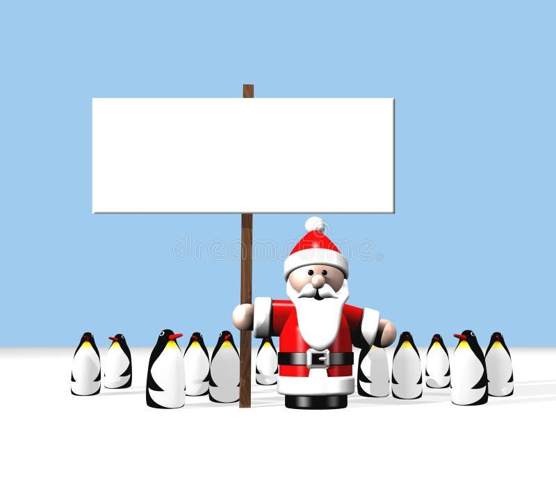 gospodarstwa Santa pingwinami znak otoczony royalty ilustracja