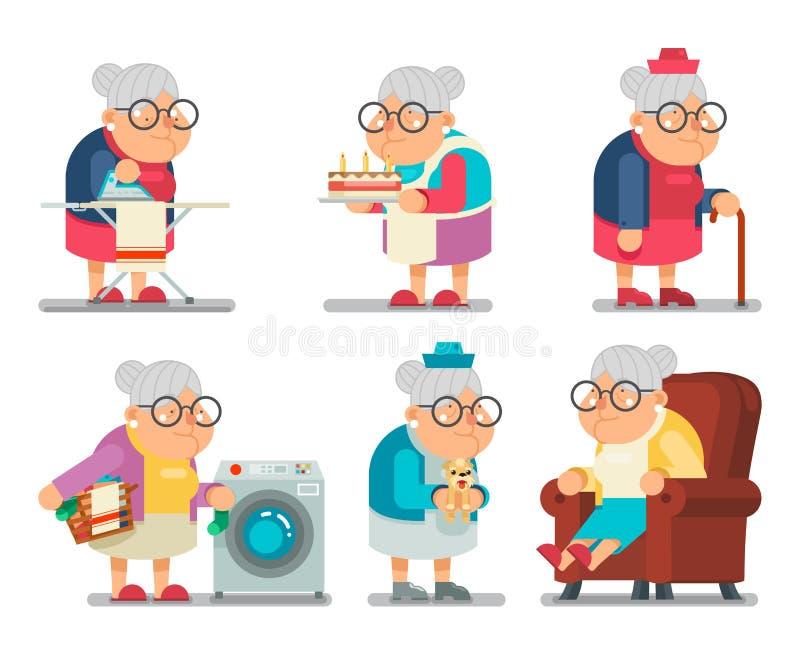 Gospodarstwo domowe babci Starej damy charakteru kreskówki projekta wektoru Płaska ilustracja ilustracja wektor