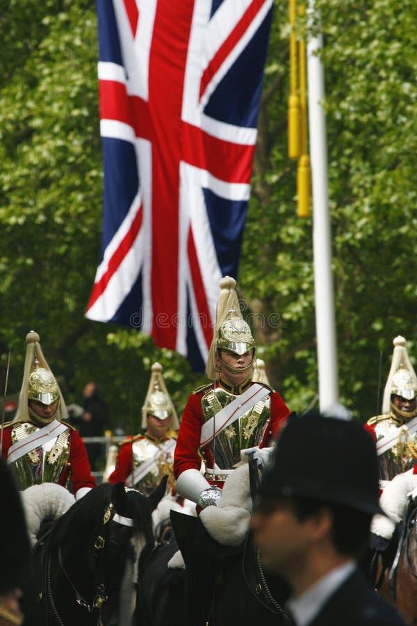 Gospodarstwo domowe kawaleria przy królowej Urodzinową paradą obraz royalty free