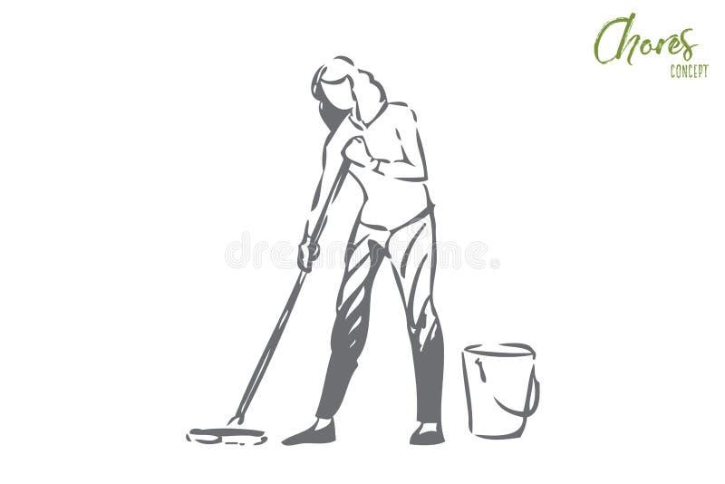 Gospodarstwo domowe odpowiedzialność pojęcia nakreślenie Odosobniona wektorowa ilustracja ilustracja wektor