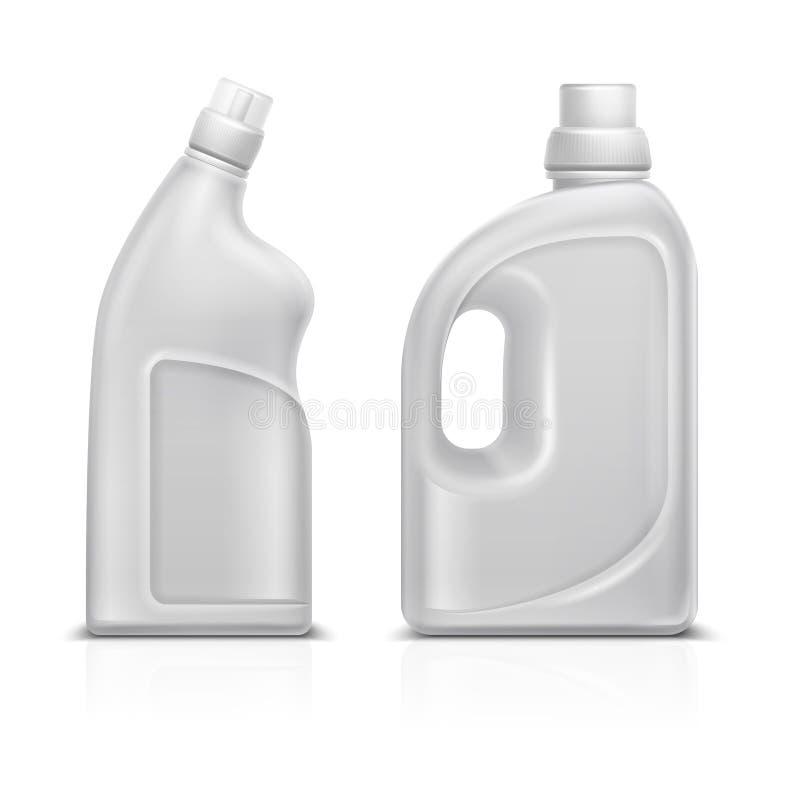 Gospodarstwo domowe substanci chemicznej 3d bielu puste plastikowe butelki Toaletowej antyseptycznej cleaner butelki wektorowa il royalty ilustracja