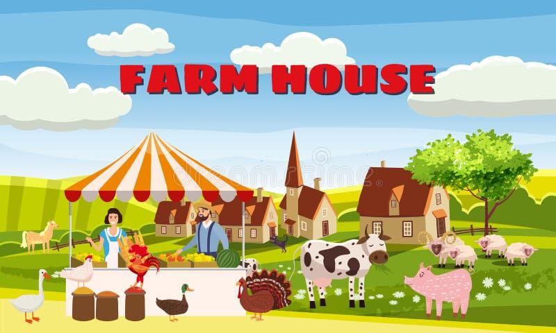Gospodarstwo Gospodarskie Rodzina Rolników Sprzedaż Produktów Zbieralnych Na Eco Farm Organic Gęś, indyk, kaczka, krowa Dom royalty ilustracja
