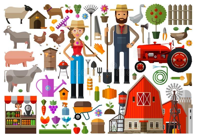 Gospodarstwo rolne, dom wiejski, farmyard loga wektorowy projekt royalty ilustracja