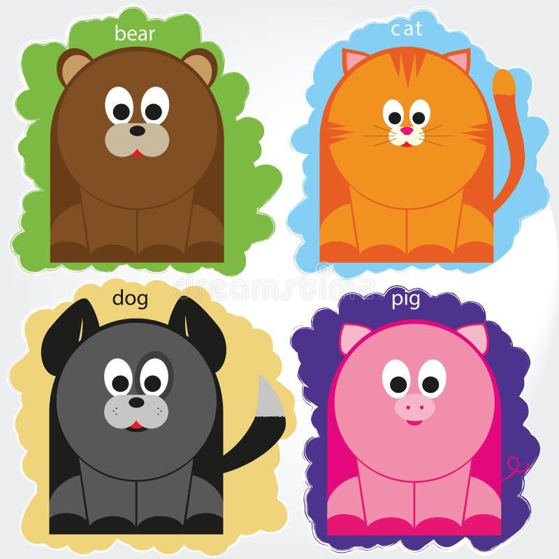 Gospodarstwo rolne, dzikie zwierzęta i zwierzęta domowe na barwionym tle, Kreskówek Śmieszni zwierzęta Wektorowi royalty ilustracja