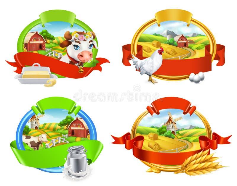 Gospodarstwo rolne Etykietka set Krowa, mleko, masło, kurczak, jajka, chleb i makaron, 3d wektor ilustracji