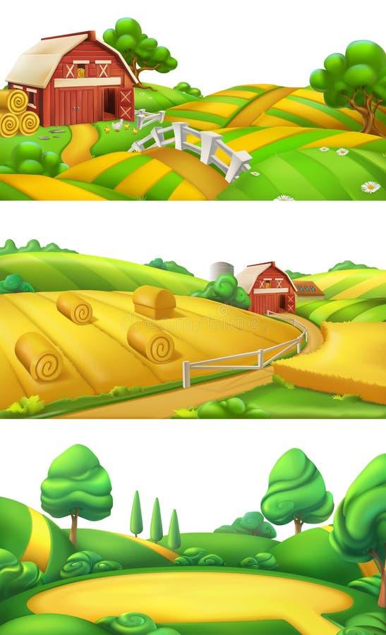 gospodarstwo rolne i natura Krajobrazowy panorama set, wektorowa ilustracja royalty ilustracja