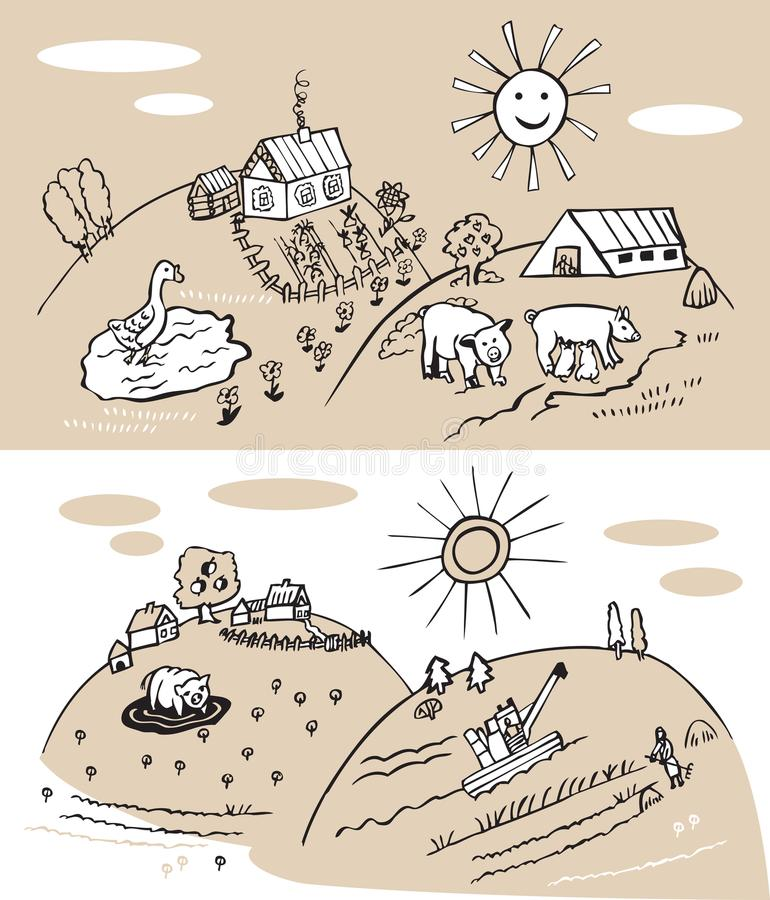 Gospodarstwo rolne i rolnictwo royalty ilustracja