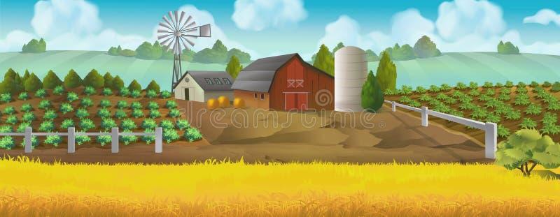 Gospodarstwo rolne Panorama krajobraz royalty ilustracja