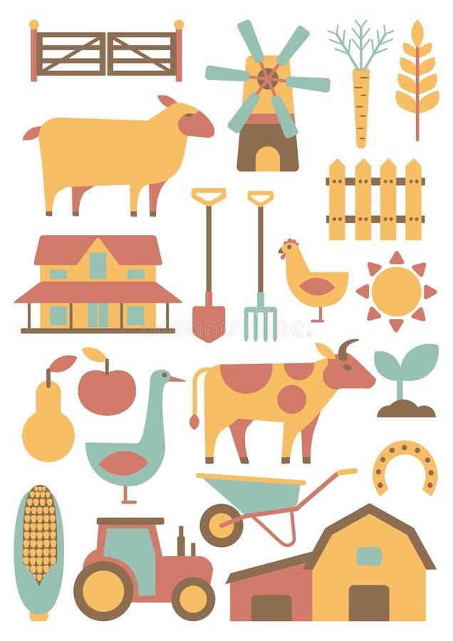 Gospodarstwo rolne set ilustracji