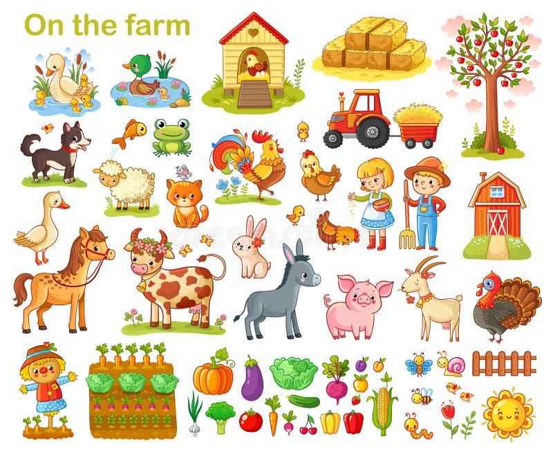 Gospodarstwo rolne ustawiający z zwierzętami ilustracji