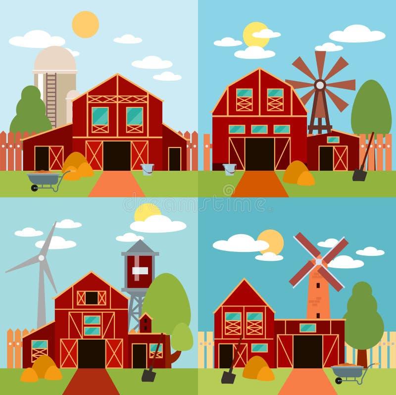 Gospodarstwo rolne w wioski mieszkania krajobrazie Naturalny tło, organicznie produkty ilustracja wektor