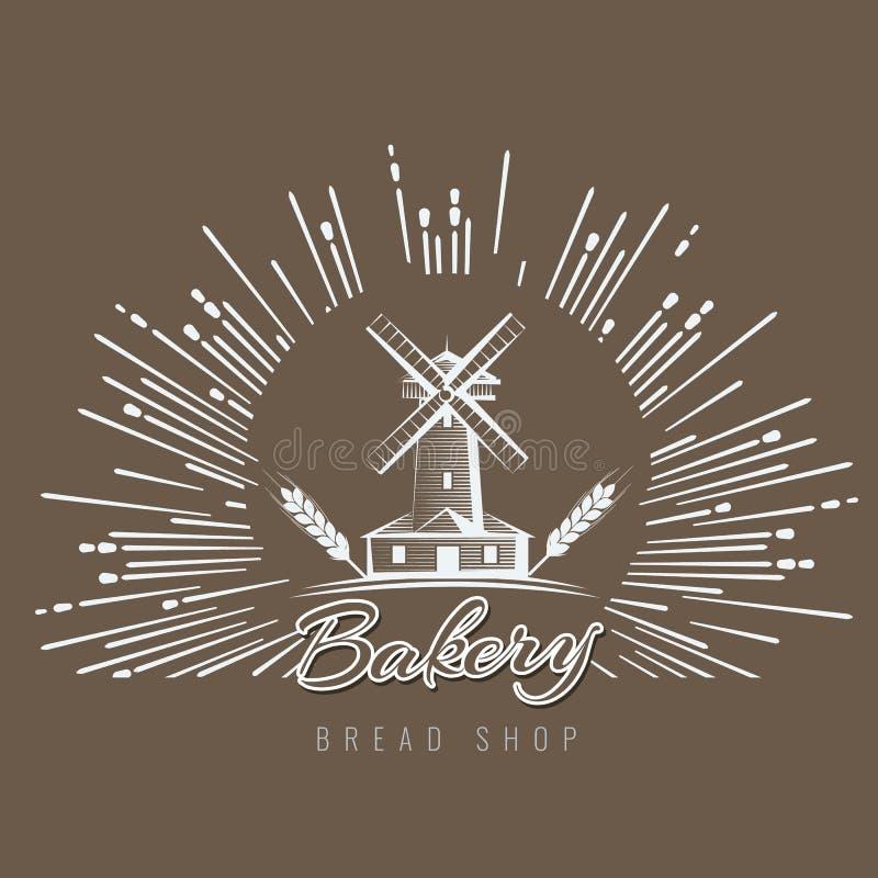 Gospodarstwo rolne, wiejski krajobrazowy logo lub etykietka, Rolnictwo, przemysł rolny, wioska, młyńska ikona Rocznika wektoru il ilustracja wektor