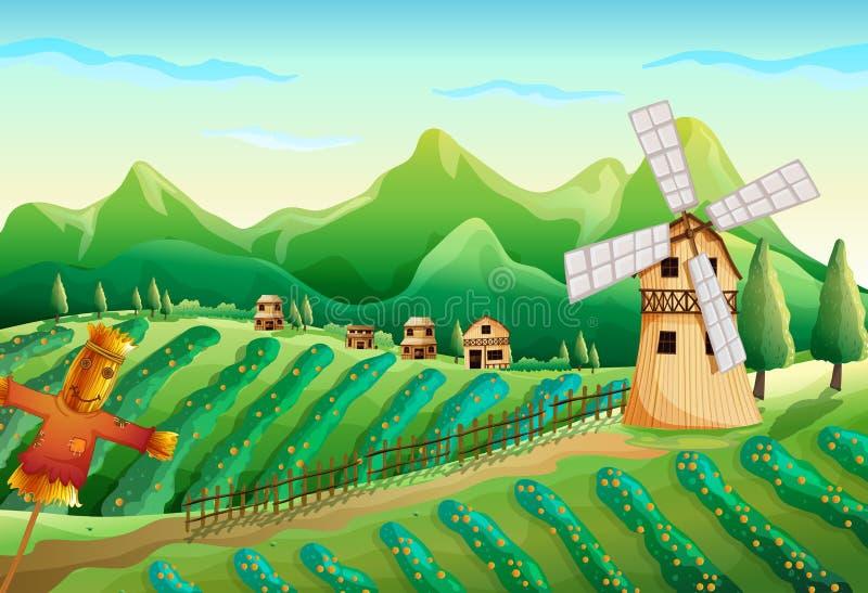 Gospodarstwo rolne z drewnianymi domami i strach na wróble ilustracji