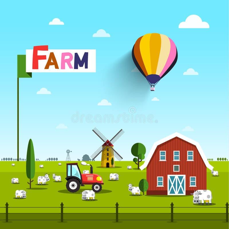 Gospodarstwo rolne z krowami, ciągnikiem, wiatraczkiem i stajnią, royalty ilustracja