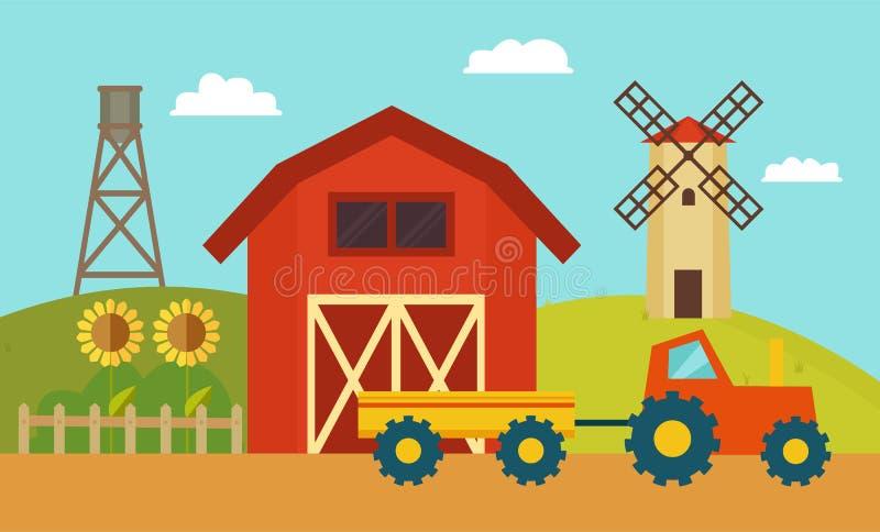 Gospodarstwo rolne z wiatraczka i ciągnika wektoru ilustracją ilustracji