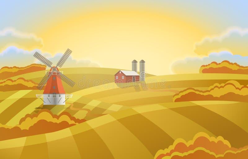 Gospodarstwo rolne z zielonymi polami Wiejski krajobraz młyn royalty ilustracja