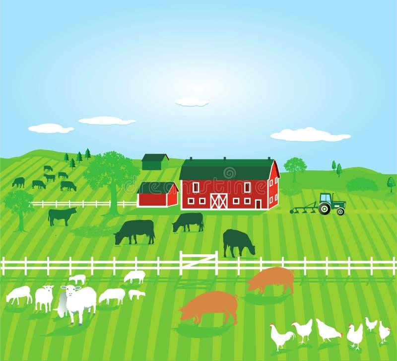 Gospodarstwo rolne z zwierzętami royalty ilustracja