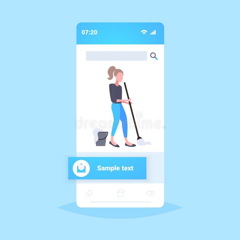 Gospodyni domowa mopping podłogowej kobiety czystego używa kwacz czyści usługową sprzątania pojęcia smartphone ekranu wiszącą ozd ilustracja wektor