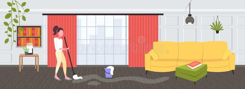 Gospodyni domowa mopping podłogowej kobiety czystego używa kwacz czyści usługowego sprzątania pojęcia nowożytny żywy izbowy wewnę ilustracja wektor