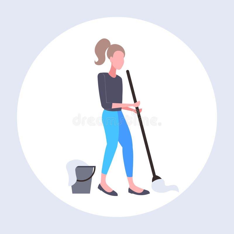 Gospodyni domowa mopping podłogowej kobiety czystego używa kwacz czyści usługowego sprzątania pojęcie folował długości mieszkanie royalty ilustracja