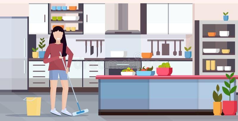 Gospodyni domowa mopping podłogowej kobiety sprzątania dziewczyny mienia czystego robi kwacz czyści pojęcia nowożytny kuchenny we royalty ilustracja