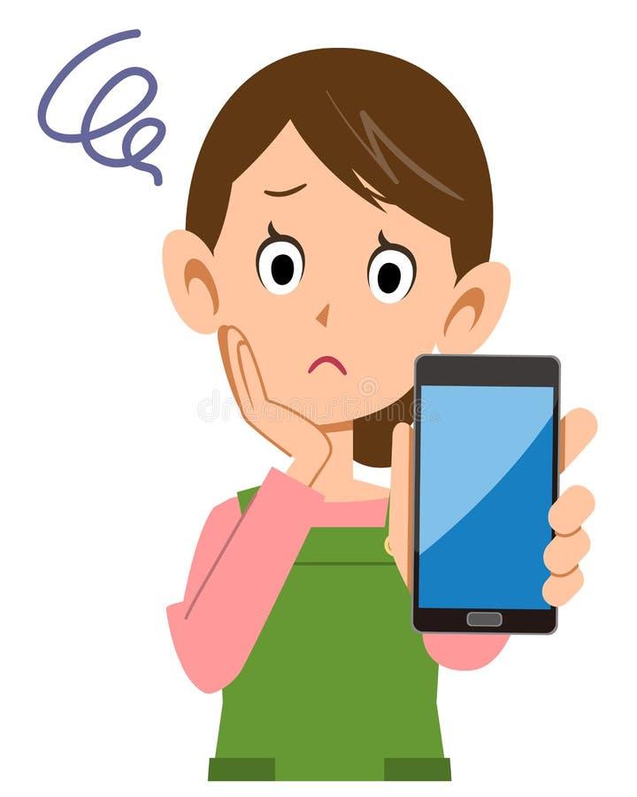 Gospodyni domowa niepokojąca z smartphone w ręce royalty ilustracja