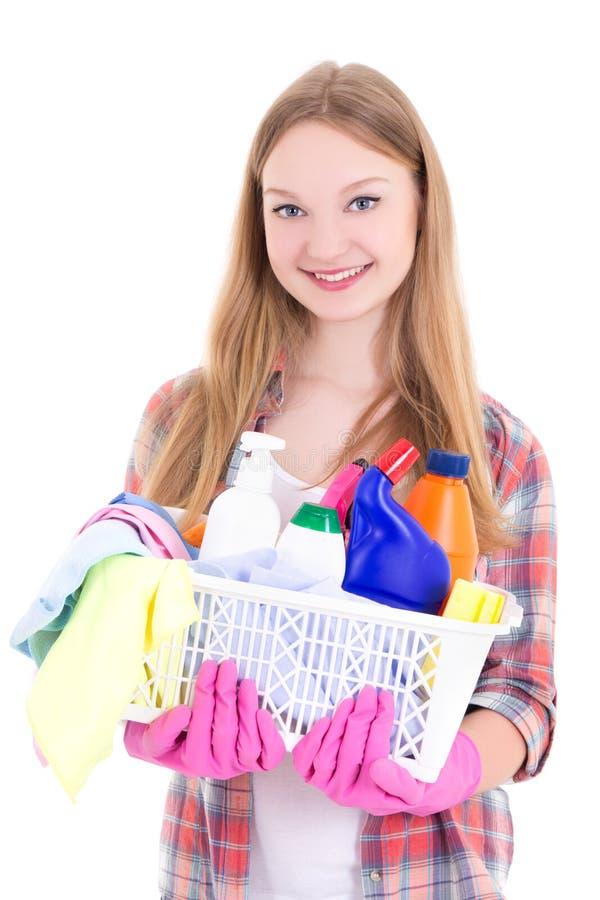 Gospodyni domowa z cleaning dostawami odizolowywać na białym tle zdjęcia royalty free
