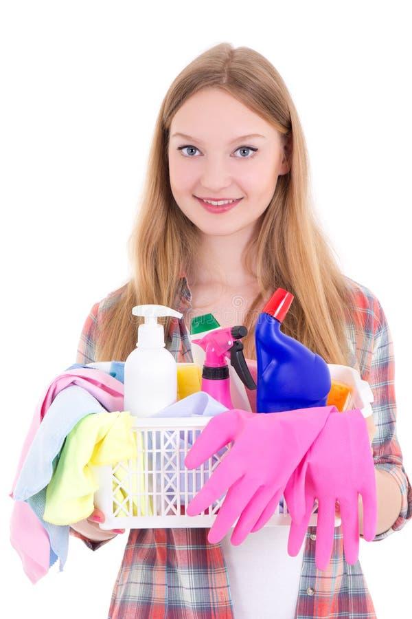 Gospodyni domowa z cleaning dostawami odizolowywać na bielu zdjęcie royalty free