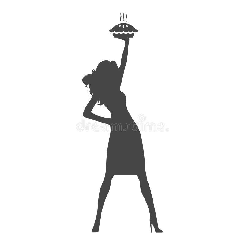 Gospodyni domowej mienia kulebiak, kobieta trzyma kulebiaka ilustracji