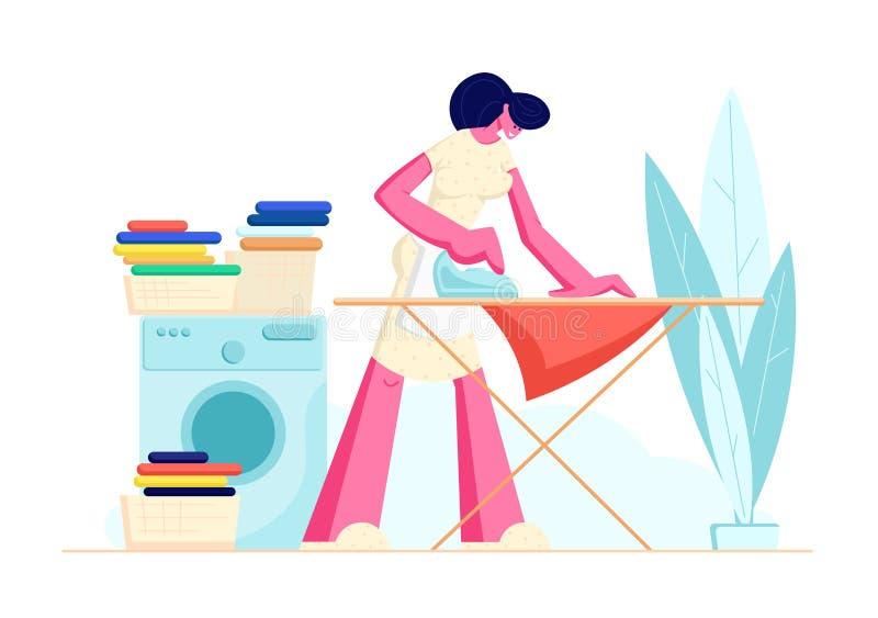 Gospodyni domowej prasowania jasnego pościel w domu m?ode kobiety royalty ilustracja