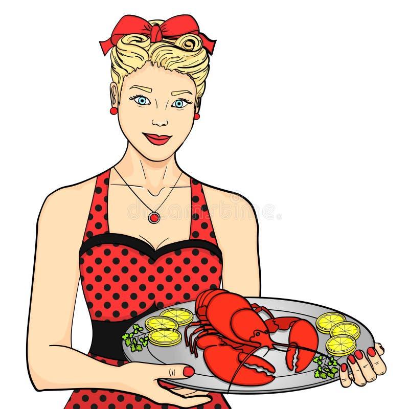 Gospodyni domu, kucharz, kelner w czerwieni słuzyć jedzenie Kobieta przedstawia homara na tacy przedmiotem tła ścieżki wycinek od ilustracji