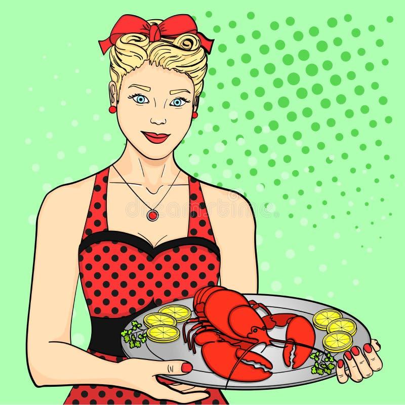 Gospodyni domu kucharz kelner w czerwieni słuzyć jedzenie Kobieta przedstawia homara na tacy wystrzał sztuki styl ilustracji