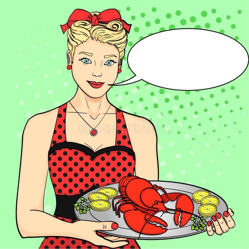 Gospodyni domu kucharz kelner w czerwieni słuzyć jedzenie Kobieta przedstawia homara na tacy Wystrzał sztuki stylu tekst ilustracji