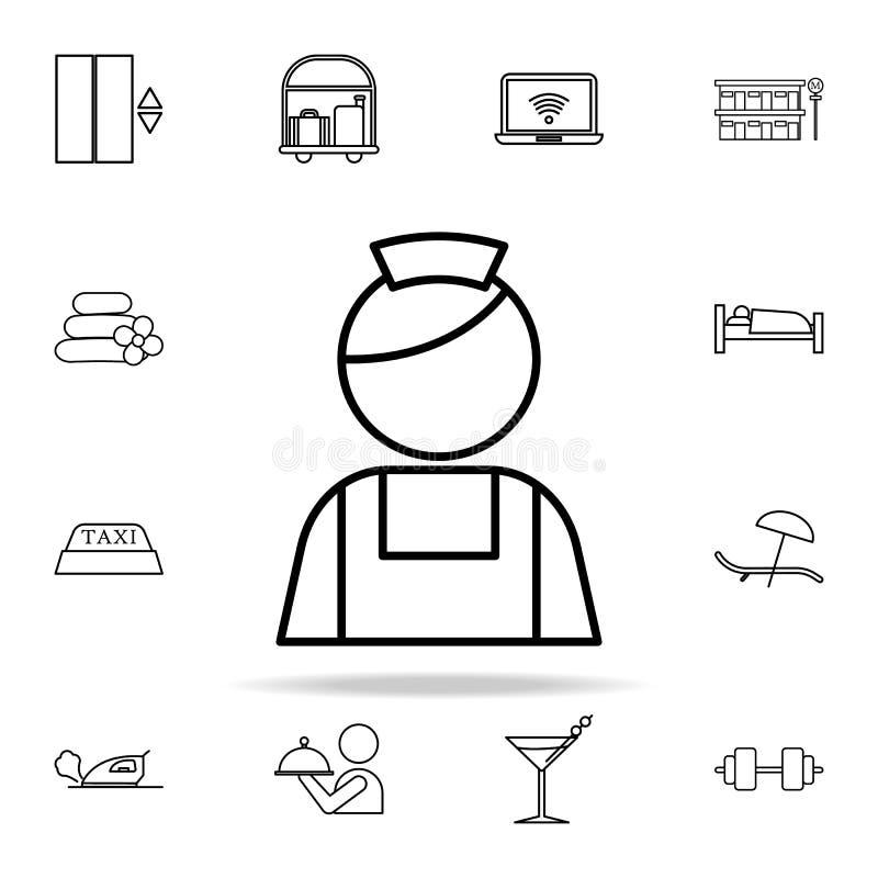Gosposi ikona Hotelowy ikony ogólnoludzki ustawiający dla sieci i wiszącej ozdoby royalty ilustracja