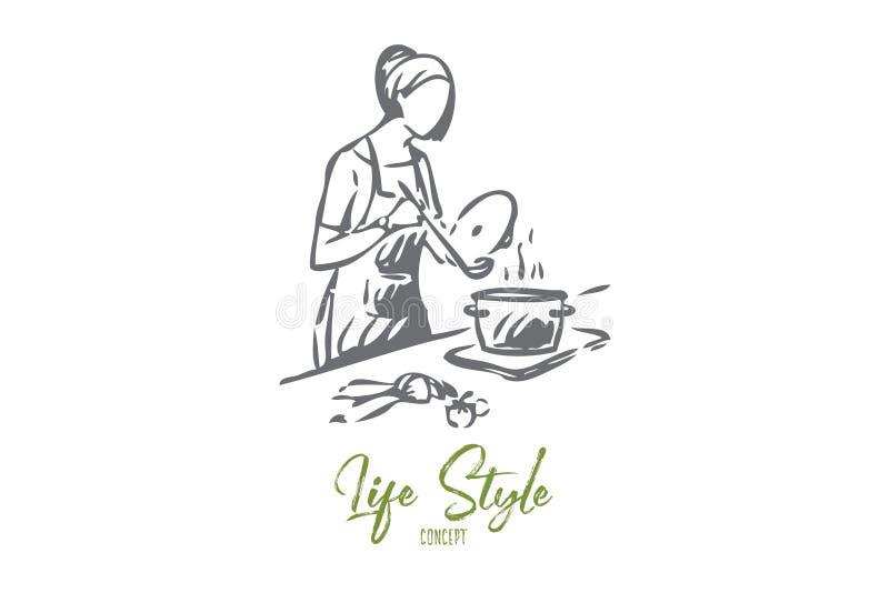 Gosposi pojęcia kulinarny nakreślenie Odosobniona wektorowa ilustracja ilustracji