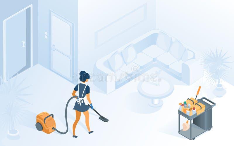 Gosposia w munduru Vacuuming dywanie w pokoju hotelowym royalty ilustracja
