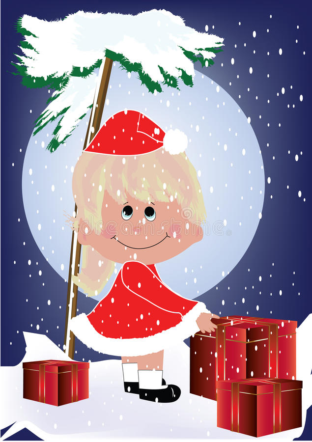 Gosse avec Noël illustration stock