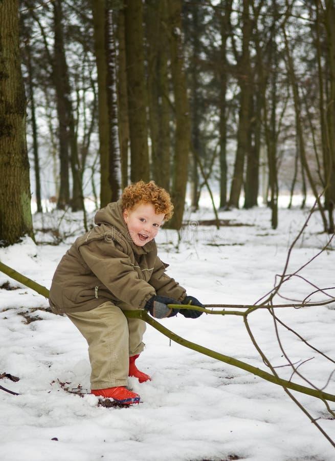 Gosse dans la neige de forêt images libres de droits