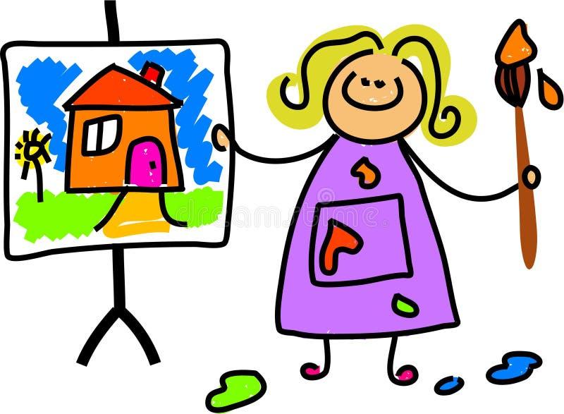Gosse de peinture illustration libre de droits