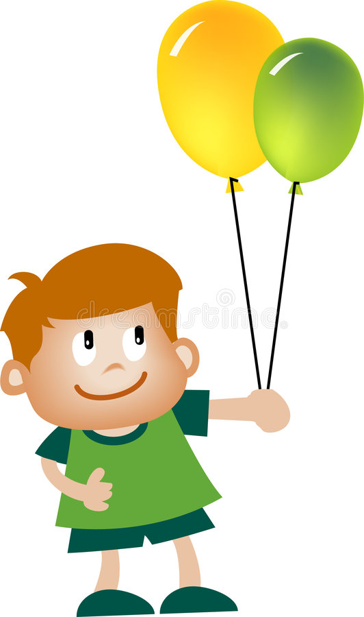 Gosse et ballon illustration stock