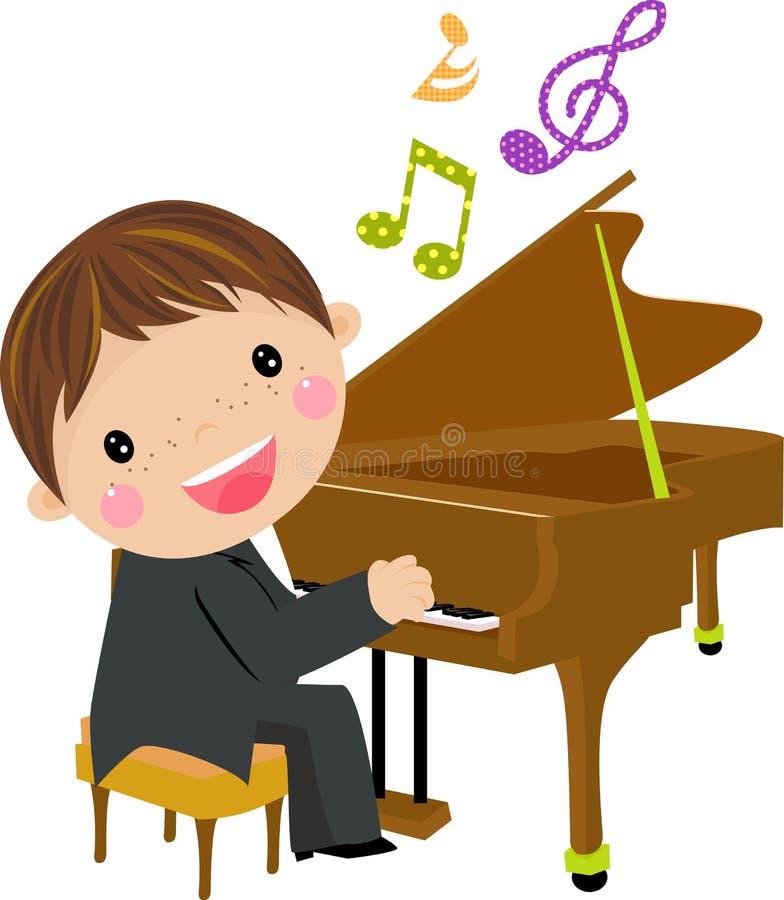 Gosse et piano illustration libre de droits