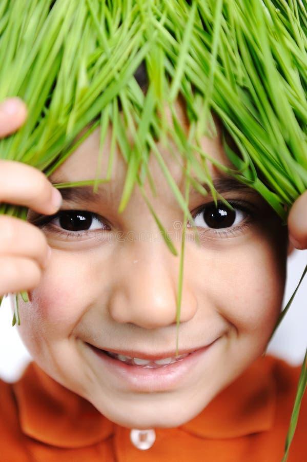 Gosse heureux mignon avec l'herbe image libre de droits