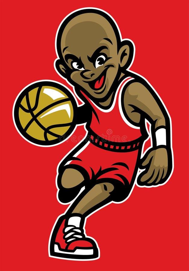 Gosse jouant au basket-ball illustration stock