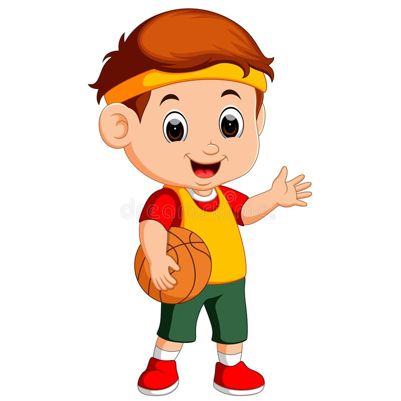 Gosse jouant au basket-ball illustration de vecteur