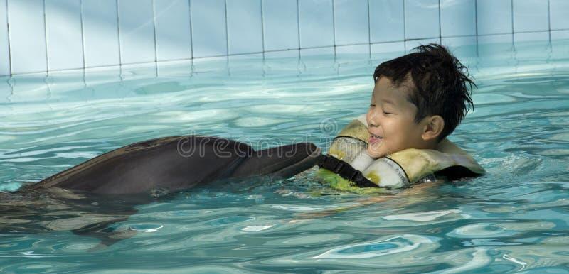 Gosse jouant avec le dauphin photos libres de droits